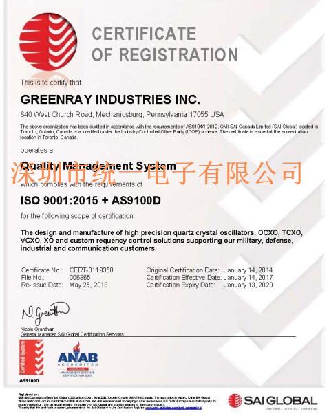 Greenray Crystal的质量管理体系经过全面记录和实施