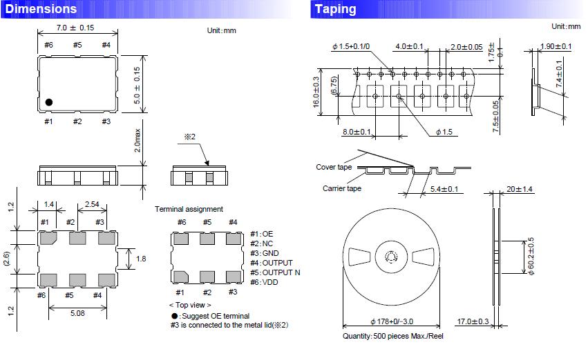 六脚贴片晶振,进口晶振,fcxo-750hc晶振