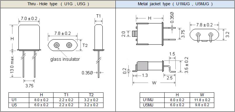 玛居礼晶振,无源晶振,U1G晶振,压电石英晶体
